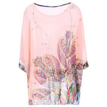 Women's Sweet Batwing Sleeve Loose-Fitting Chiffon Blouse - L L