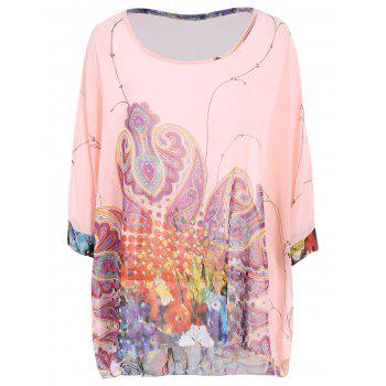 Women's Sweet Batwing Sleeve Loose-Fitting Chiffon Blouse - PINK L