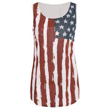 Stylish Sleeveless Scoop Neck Flag Print Women's Tank Top