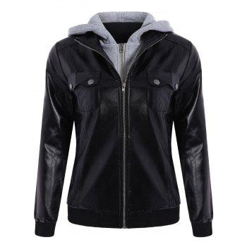 Attractive Hooded Pocket Design Black Faux Leather Jacket For Women