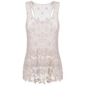 Sweet Women's U-Neck Sleeveless Solid Color Hollow Out Lace Tank Top - OFF-WHITE OFF WHITE