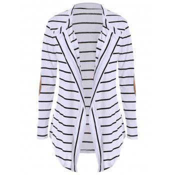 Chic Collarless Long Sleeve Striped Spliced Women's Cardigan