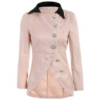 Solid Color Single-Breasted Ladylike Style Long Sleeves Irregular Women's Coat - PINK PINK