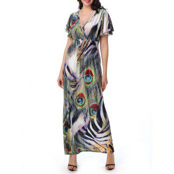 Peacock Feather Backless Plus Size Maxi Dress