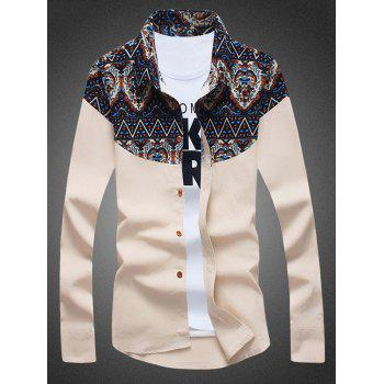 Tribal Print Insert Long Sleeve Linen Shirt