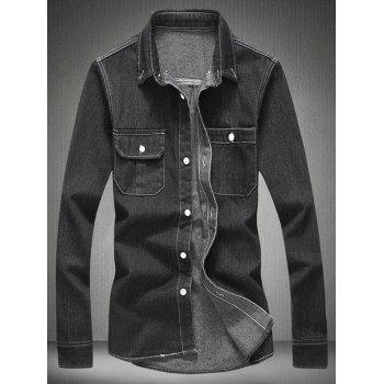 Long Sleeve Denim Shirt with Chest Pocket