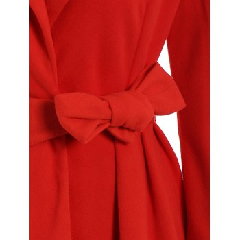 Noble Long Sleeve Turn-Down Collar Self Tie Belt Pure Color Women's Coat Dress - RED M