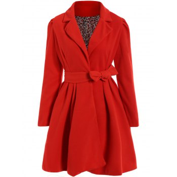 Noble Long Sleeve Turn-Down Collar Self Tie Belt Pure Color Women's Coat Dress
