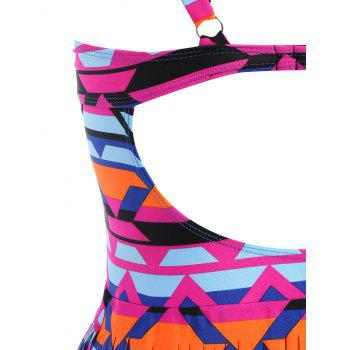 Plus Size Cut Out Fringed Swimwear - COLORFUL 4XL