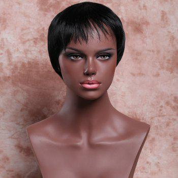Masculine Women's Black Ultrashort Synthetic Wig