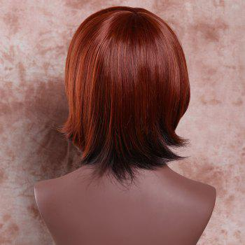 Women's Short Side Bang Mixed Color Straight Charming Synthetic Hair Wig - COLORMIX