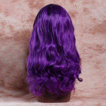 Women's Long Side Parting Curly Black Mixed Purple Fashion Synthetic Hair Wig - COLORMIX