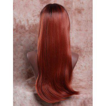 Long Side Parting Straight Mixed Color Synthetic Hair Wig - COLORMIX