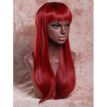 Elegant Women's Long Full Bang Straight Ombre Color Synthetic Hair Wig - COLORMIX