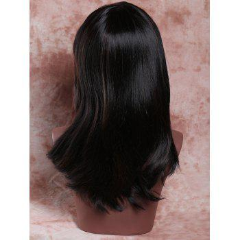 Elegant Women's Long Side Bang Straight Tail Upwards Mixed Color Synthetic Hair Wig - COLORMIX