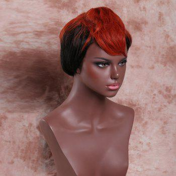 Faddish Women's Short Fluffy Full Bang Palm Red Highlights Synthetic Wig - COLORMIX