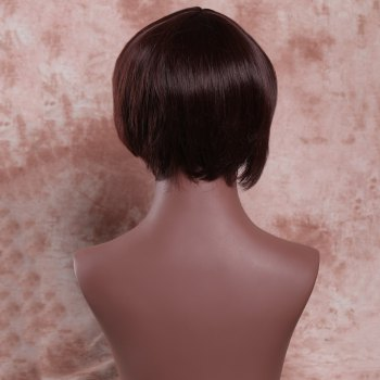 Stylish Women's Deep Brown Short Fluffy Side Bang Synthetic Wig - DEEP BROWN