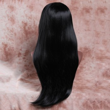 Graceful Women's Long Black Straight Tail Adduction Side Parting Synthetic Wig - BLACK