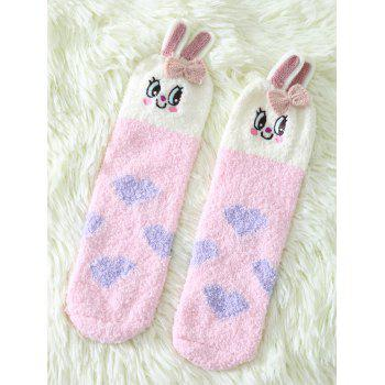 Coral Fleece Cartoon Pink Bunny Socks
