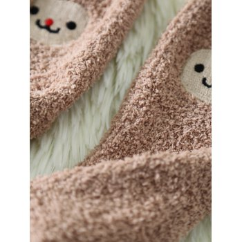 Coral Fleece Cartoon Monkey Socks -  KHAKI