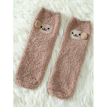 Coral Fleece Cartoon Monkey Socks - KHAKI KHAKI