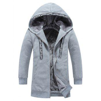Zipper Up Graphic Flocking Hooded Coat