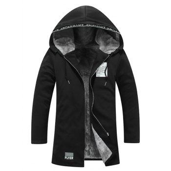 Zipper Up Patch Flocking Hooded Coat