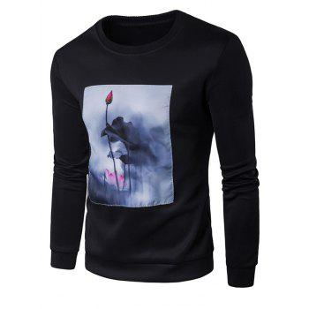 Crew Neck Lotus Painting Patched Graphic Sweatshirts