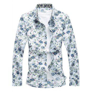 Long Sleeve Button Up Floral Printed Shirt