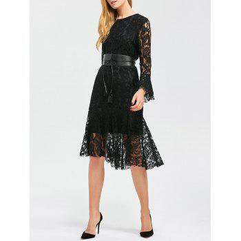 Flare Sleeve Lace Fishtail Dress