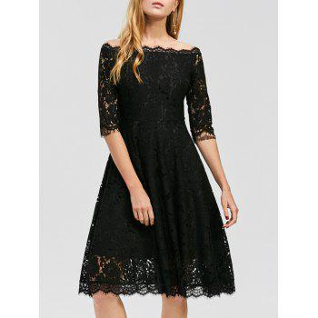 Off Shoulder Lace A Line Swing Dress