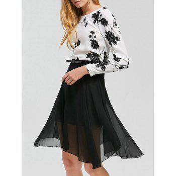 Embroidered See-Thru Two Piece Dress - BLACK BLACK