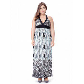Plus Size Empire Waist Paisley Long Halter Beach Dress