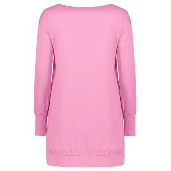 Stylish Plunging Neck Long Sleeve Pocket Design Solid Color Women's Dress - PINK M