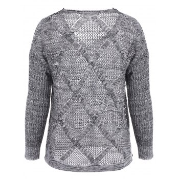 Loose-Fitting Solid Color Long Sleeve V-Neck Hollow Out Design Sweater - LIGHT GRAY ONE SIZE