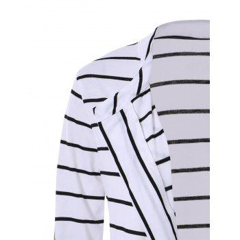 Chic Collarless Long Sleeve Striped Spliced Women's Cardigan - WHITE L