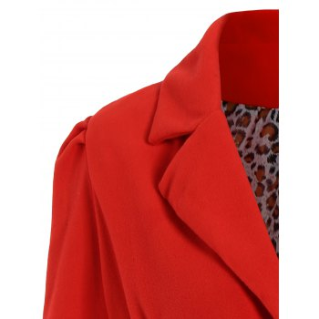 Noble Long Sleeve Turn-Down Collar Self Tie Belt Pure Color Women's Coat Dress - RED XL