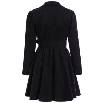 Noble Long Sleeve Turn-Down Collar Self Tie Belt Pure Color Women's Coat Dress - BLACK S