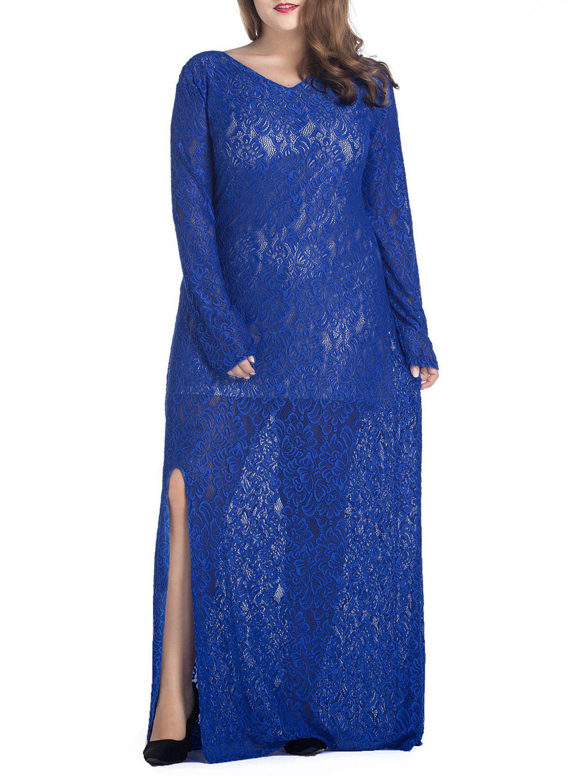 Plus Size Maxi Lace Long Sleeve Sheer Dress - BLUE XL