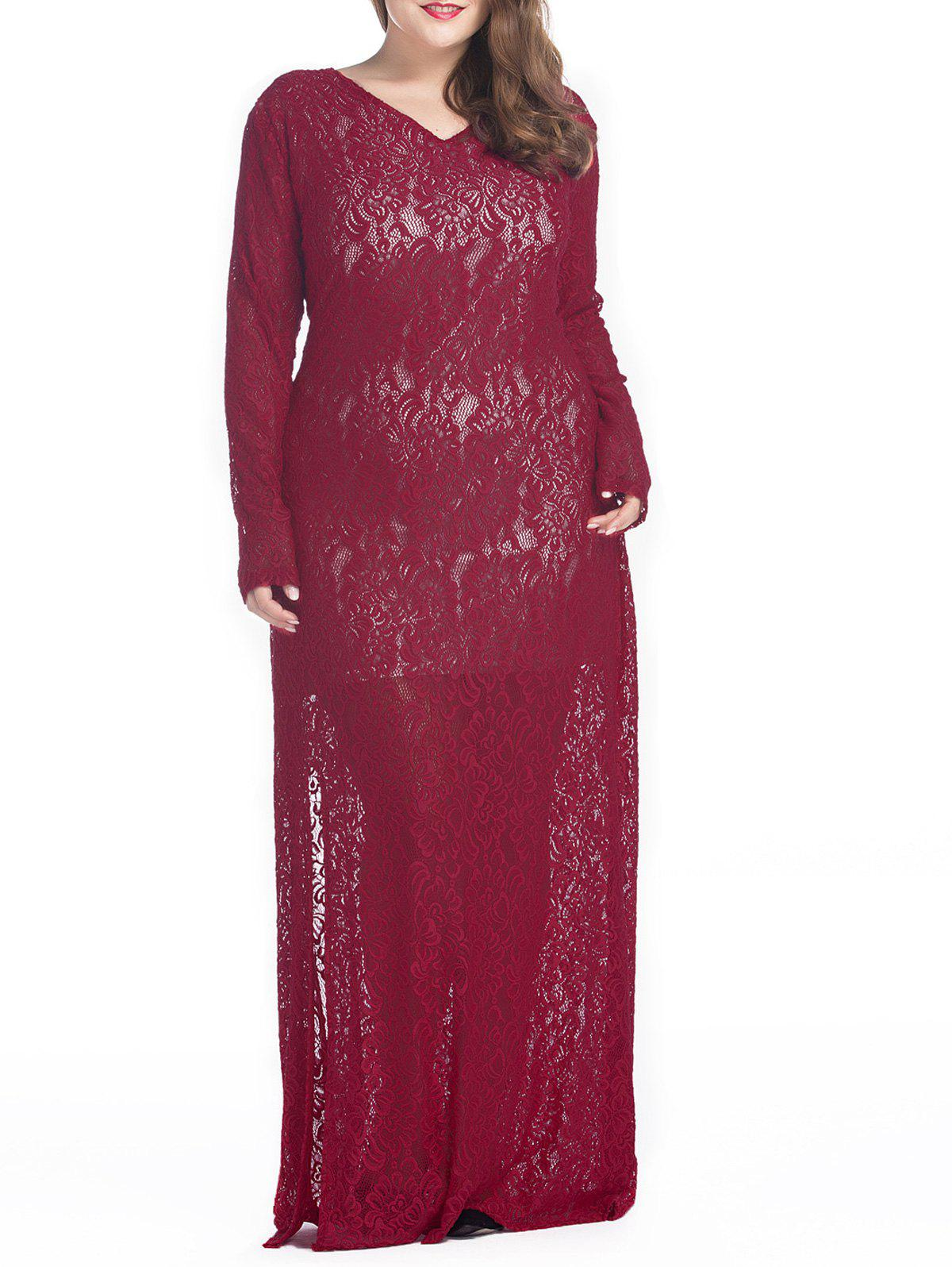 Plus Size Maxi Lace Long Sleeve Sheer Dress - DEEP RED XL
