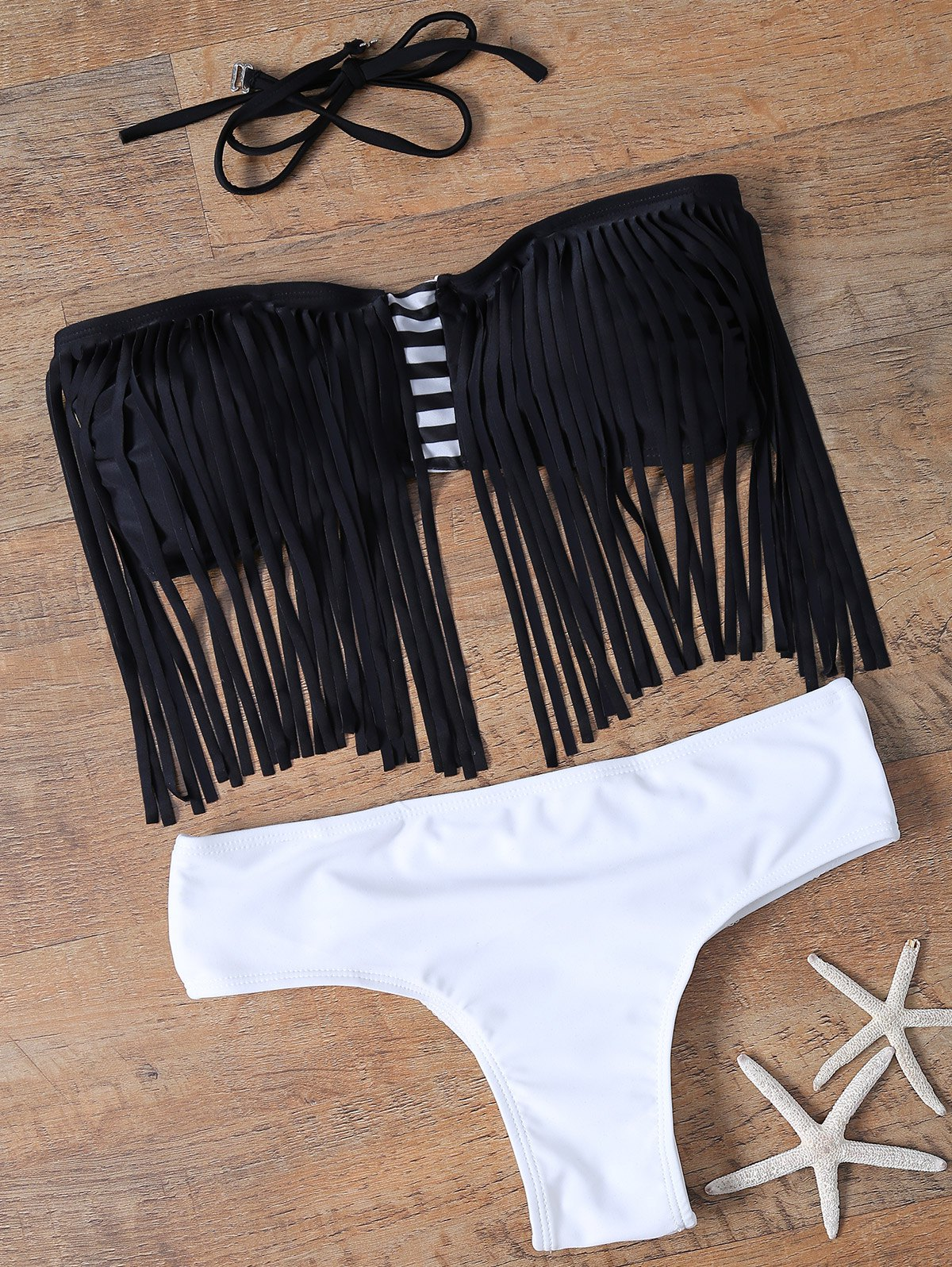 Trendy Women's Halter Fringed Bikini Set - WHITE/BLACK M