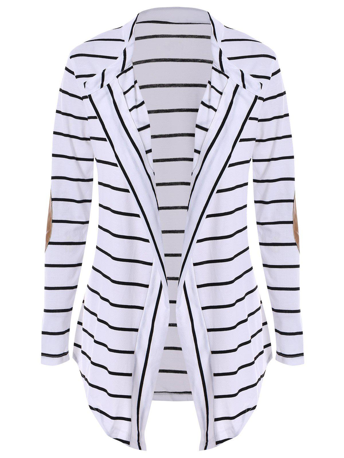 Chic Collarless Long Sleeve Striped Spliced Women's Cardigan - WHITE XL