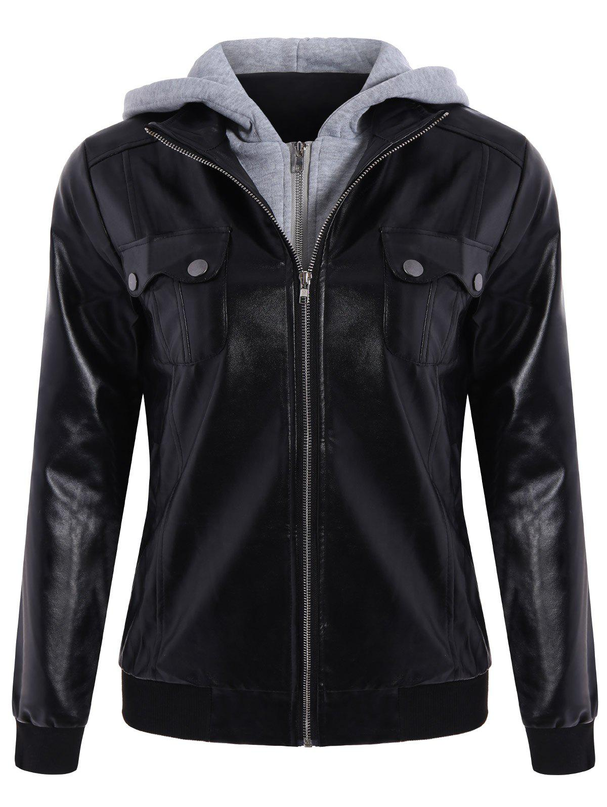 Attractive Hooded Pocket Design Black Faux Leather Jacket For Women - BLACK XL