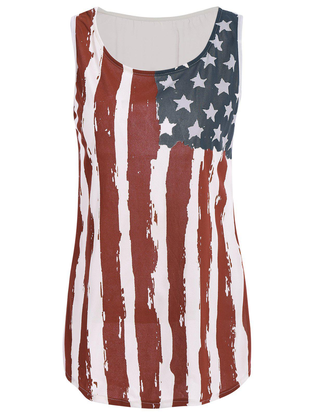 Stylish Sleeveless Scoop Neck Flag Print Women's Tank Top - COLORMIX S