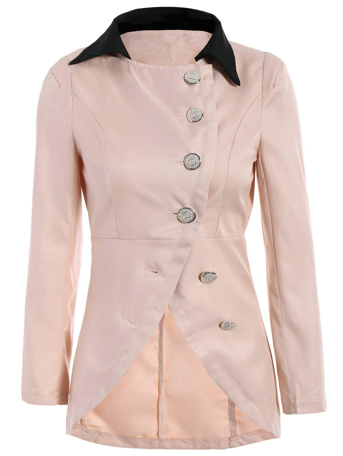 Solid Color Single-Breasted Ladylike Style Long Sleeves Irregular Womens CoatWomen<br><br><br>Size: ONE SIZE<br>Color: PINK
