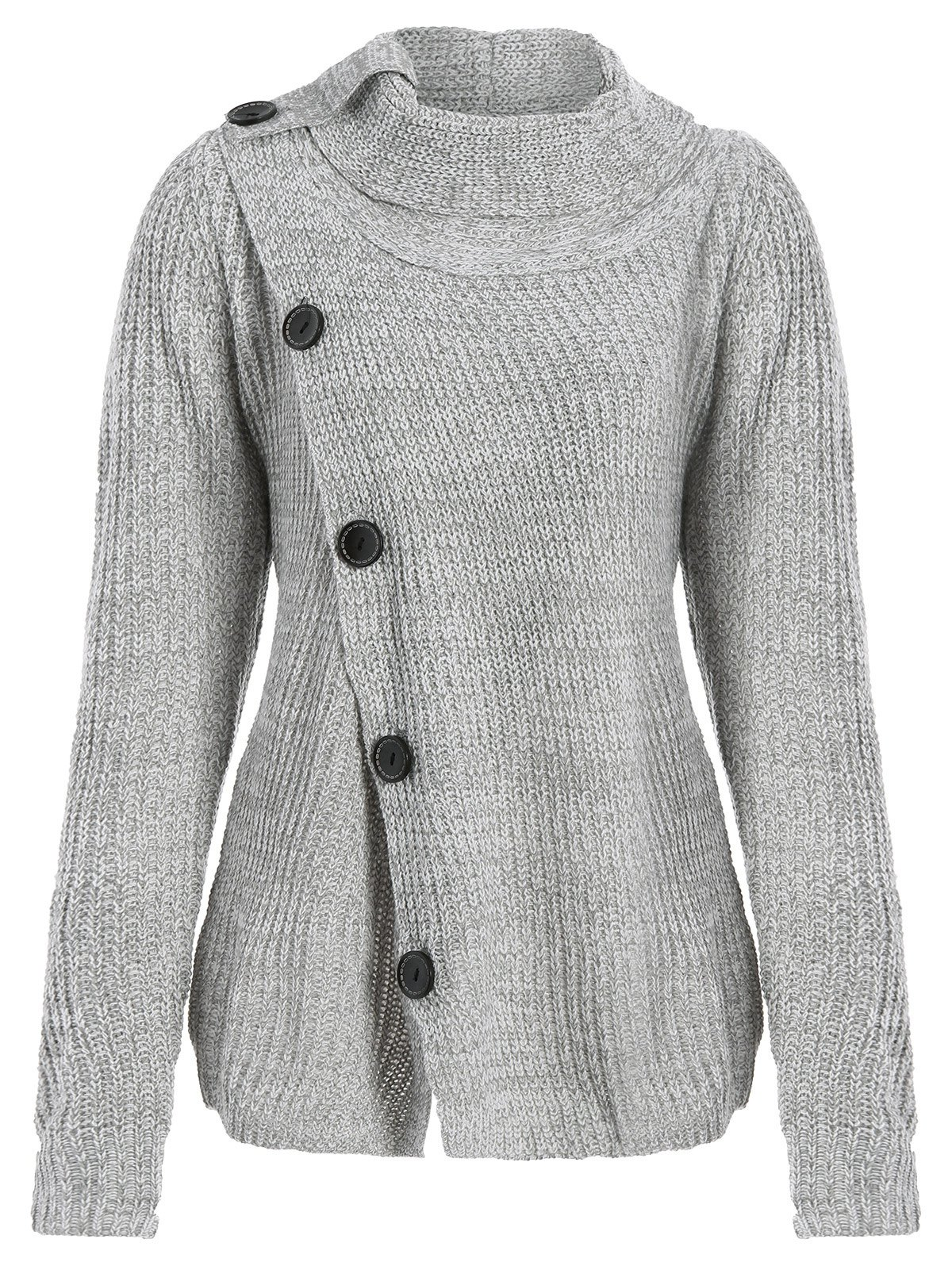 Asymmetrical Button Design Cardigan - GRAY XL