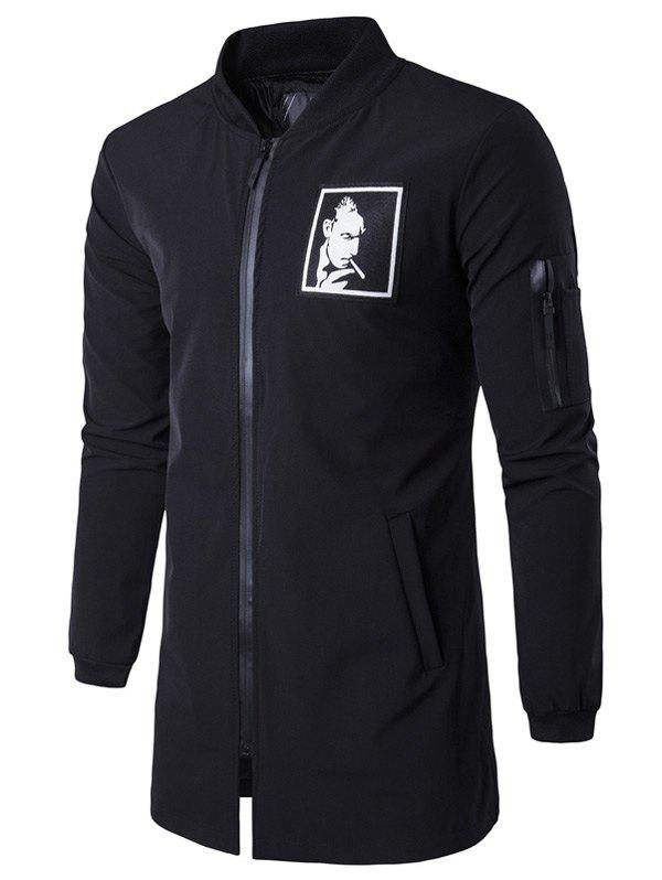 Buy Graphic Zippered Pocket Coat BLACK