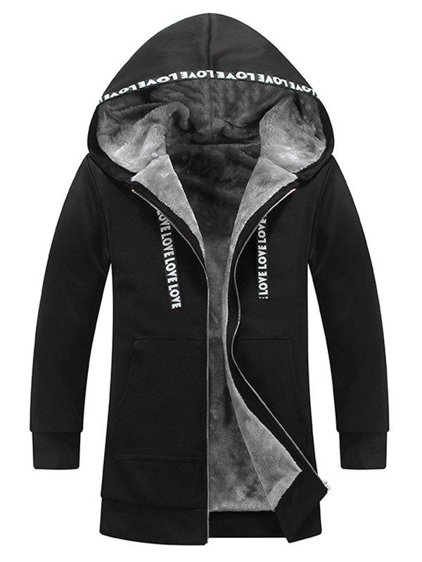 Buy Zipper Graphic Flocking Hooded Coat BLACK