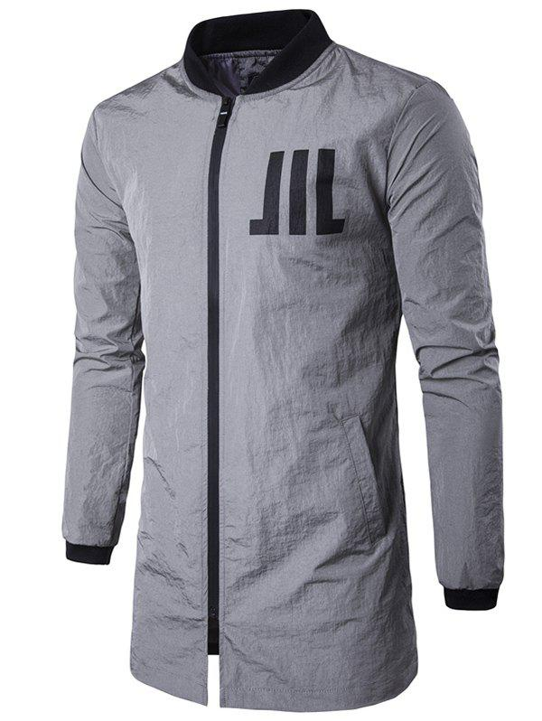 Buy Stand Collar Zip Graphic Coat GRAY