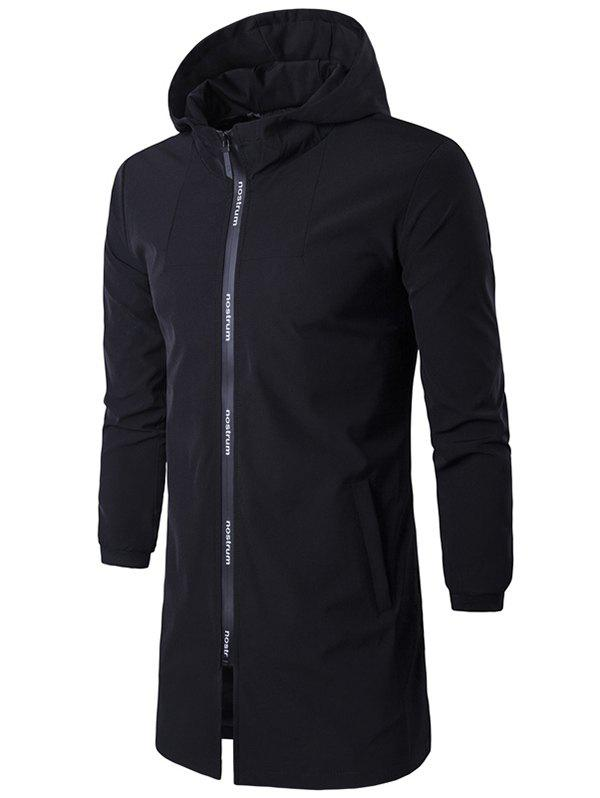 Buy Letter Zip Hooded Rib Cuff Coat BLACK